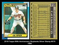 2016 Topps 65th Anniversary Buybacks Silver Stamp #570