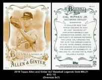 2016 Topps Allen and Ginter 5x7 Baseball Legends Gold #BL21