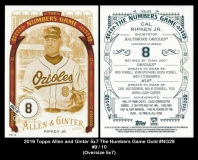 2016 Topps Allen and Ginter 5x7 The Numbers Game Gold #NG29
