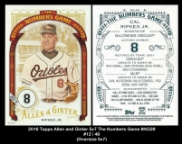 2016 Topps Allen and Ginter 5x7 The Numbers Game #NG29