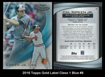 2016 Topps Gold Label Class 1 Blue #8