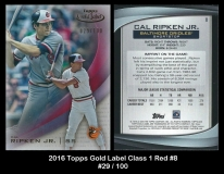 2016 Topps Gold Label Class 1 Red #8