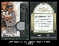 2016 Topps Tier One Legends Relics #T1RLCR