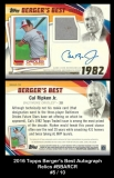 2016 Topps Berger's Best Autograph Relics #BBARCR