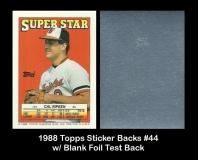 1988 Topps Sticker Backs #44 w Blank Foil Test Back
