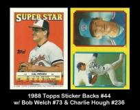 1988 Topps Sticker Backs #44 w Bob Welch #73 & Charlie Hough #236