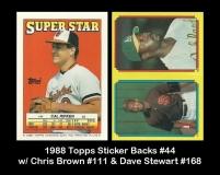 1988 Topps Sticker Backs #44 w Chris Brown #111 & Dave Stewart #168