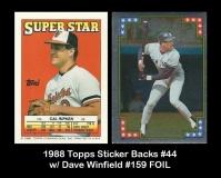 1988 Topps Sticker Backs #44 w Dave Winfield #159 FOIL