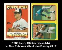 1988 Topps Sticker Backs #44 w Don Robinson #94 & Jim Presley #217