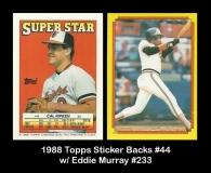 1988 Topps Sticker Backs #44 w Eddie Murray #233