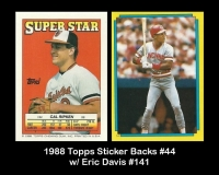 1988 Topps Sticker Backs #44 w Eric Davis #141