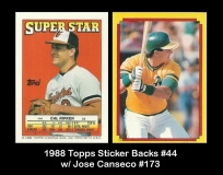 1988 Topps Sticker Backs #44 w Jose Canseco #173