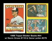 1988 Topps Sticker Backs #44 w Kevin Gross #118 & Gene Larkin #279