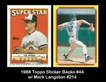 1988 Topps Sticker Backs #44 w Mark Langston #214