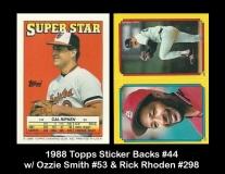 1988 Topps Sticker Backs #44 w Ozzie Smith #53 & Rick Rhoden #298