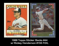 1988 Topps Sticker Backs #44 w RIckey Henderson #155 FOIL