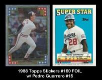 1988 Topps Stickers #160 FOIL w Pedro Guerrero #15