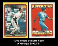 1988 Topps Stickers #288 w George Brett #41