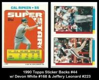 1990 Topps Sticker Backs #44 W Devon White #168 & Jeffery Leonard #223