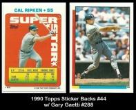 1990 Topps Sticker Backs #44 w Gary Gaetti #288