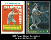 1990 Topps Sticker Backs #44 w Mark McGuire #162