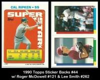 1990 Topps Sticker Backs #44 w Roger McDowell #121 & Lee Smith #262