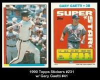 1990 Topps Stickers #231 w Gary Gaetti #41