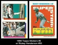 1990 Topps Stickers #5 w RIckey Henderson #50